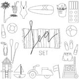 Collection of vector flat summer icons Stock Photo