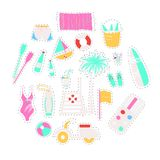 Collection of vector flat summer icons Stock Image