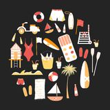 Collection of vector flat summer line icons Royalty Free Stock Image