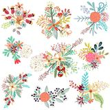Collection of vector florals with rustic. Flowers Royalty Free Stock Photography