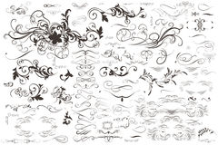 Collection of vector flourishes and ornaments in vintage style. Big collection of vector flourishes and ornaments in vintage style Stock Photos