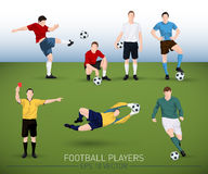 Collection of vector football players Stock Photos
