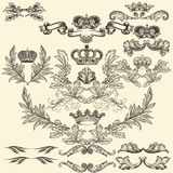 Collection of vector frames with crowns and  coat of arms. Collection of heraldic frames in vintage style for design Stock Images