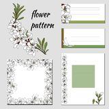 Collection of vector frames and invitations with white flowers stock photography