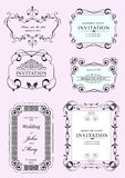 Collection of vector frames. And ornaments with sample text Stock Photography