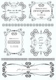 Collection of vector frames. And ornaments with sample text Stock Photos