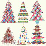 Collection of vector funky Christmas trees Royalty Free Stock Images