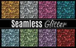 Collection of vector glitter seamless patterns. In multiple colors vector illustration