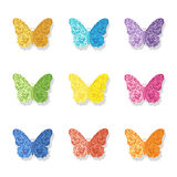Collection of vector glittering butterfly icons. Royalty Free Stock Photography