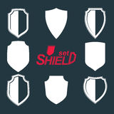 Collection of vector grayscale defense shields, protection desig Stock Photography