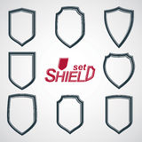 Collection of vector grayscale defense shields, protection desig Stock Photo