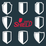 Collection of vector grayscale defense shields, protection Royalty Free Stock Photo