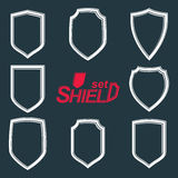 Collection of vector grayscale defense shields Stock Image