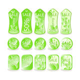 Collection of vector green sale Royalty Free Stock Photo