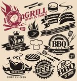Collection of vector grill signs, symbols, labels and icons Stock Photos