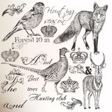 Collection of vector hand drawn animals for  hunting design Stock Photo