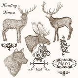 Collection of vector hand drawn animals for hunting season desig Royalty Free Stock Photos