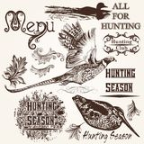 Collection of vector hand drawn animals hunting season design Royalty Free Stock Photo