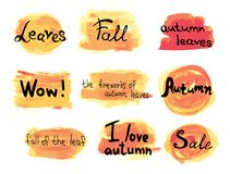Collection of vector hand drawn autumn labels on colorful background Stock Photo