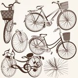 Collection of vector hand drawn bicycles for design Royalty Free Stock Photo