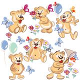 Collection of vector hand drawn cartoon bears for childish desig Stock Images