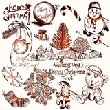 Collection of vector hand drawn Christmas elements in vintage st Royalty Free Stock Images