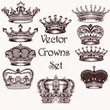 Collection of vector hand drawn crowns  for design Royalty Free Stock Images