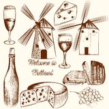 Collection of vector hand drawn elements cheese, wine and Hollan Royalty Free Stock Photos