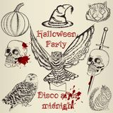 Collection of vector hand drawn elements for Halloween design Royalty Free Stock Photos