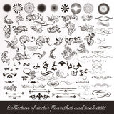 Collection of vector hand drawn flourishes in engraved style. Me. Big collection or set of vintage styled flourishes and sunbursts for design Royalty Free Stock Photography