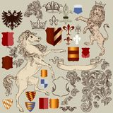Collection of vector hand drawn heraldic elements in vintage sty Royalty Free Stock Image