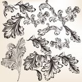 Collection of vector hand drawn swirl flourishes for design Royalty Free Stock Photos