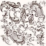 Collection of vector hand drawn swirls Stock Photos