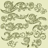 Collection of vector hand drawn swirls in vintage style Royalty Free Stock Photos