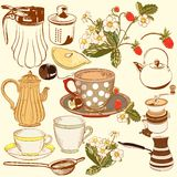 Collection of vector hand drawn tea and coffee accessories for d Stock Images
