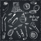 Collection of  Vector hand drawn Tools for make-up. Stock Photography