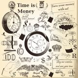 Collection of vector hand drawn vintage  elements time is money Stock Photography