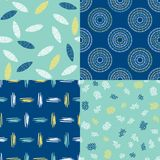 Set of 4 hand drawn patterns Stock Photos