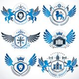 Collection of vector heraldic decorative coat of arms isolated o Stock Photos