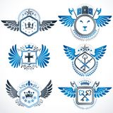 Collection of vector heraldic decorative coat of arms isolated o. N white and created using vintage design elements, monarch crowns, pentagonal stars, armory Royalty Free Stock Photo