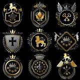Collection of vector heraldic decorative coat of arms isolated o Stock Image