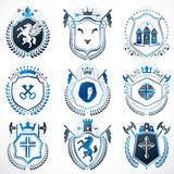 Collection of vector heraldic decorative coat of arms isolated o Royalty Free Stock Photography