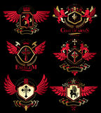 Collection of vector heraldic decorative coat of arms isolated o Royalty Free Stock Image