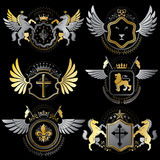 Collection of vector heraldic decorative coat of arms isolated o Stock Photo