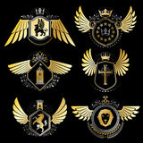 Collection of vector heraldic decorative coat of arms isolated o Royalty Free Stock Photos