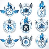 Collection of vector heraldic decorative coat of arms isolated o. N white and created using vintage design elements, monarch crowns, pentagonal stars, armory Stock Image