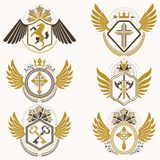 Collection of vector heraldic decorative coat of arms isolated o. N white and created using vintage design elements, monarch crowns, pentagonal stars, armory Stock Photo
