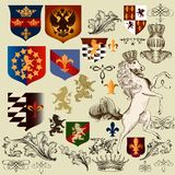Collection of vector heraldic decorative elements fleur de lis,
