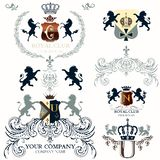 Collection of vector heraldic elements for design Vector Illustration