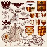 Collection of vector heraldic elements for design stock illustration